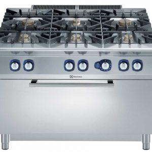 Cucina a Gas con Armadio su Forno Grande a Gas Statico 6 fuochi