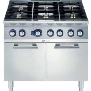 cucina acciaio con forno a gas