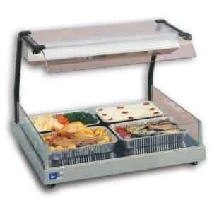 Espositore Gastronorm GN 2/1 Vista. Con raggi infrarossi riscaldanti. Per piastra in vetroceramica riscaldata Gastronorm GN 2/1.