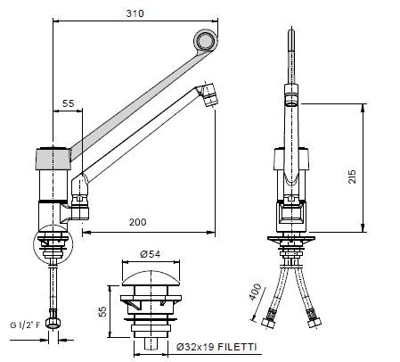 scheda tecnica rubinetto leva lunga 00185123